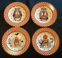"Debbie Mumm Halloween Owl 8-1/4"" Salad Plates Set of 4 Sakura 2000"