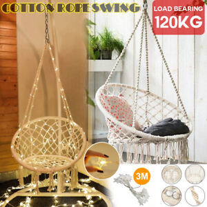 Hammock Chair Macrame Cotton Relax Swing Bed Indoor Hanging /Decor String light