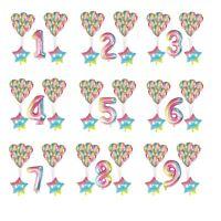 "30"" Number Foil Helium Balloons Gradient Marble 15 balloon set Happy Birthday"
