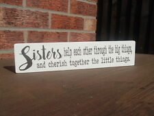 Shabby vintage chic sisters free standing wooden sign christmas birthday gift