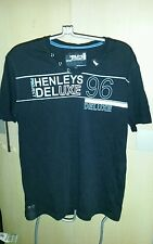 HENLEY PROJECT DELUXE BLACK TSHIRT P2P 21 INCH SIZE 4
