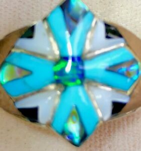Gorgeous Maltese Knights Turquoise CROSS Black Fire Opal Ring solid 11 V