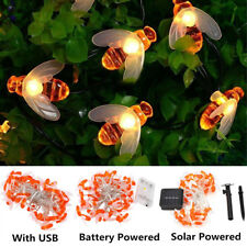 10/20/30/40 Fairy String LED Lights Honey Bee Shape Solar/USB/Battery Powered TP