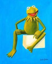 Arte Pop-Muppets-Kermit en Azul 40x50 cm Pintura al óleo