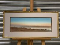 Beautiful Antique Watercolour Of A Desert Scene At Sunset By Herbert Tomlinson