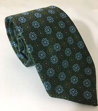 "Robert Talbott Best Of Class Green & Blue Floral Geometric Silk Tie 3.25"" X 59"""