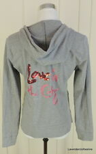 New York & Company M Love In The City Spellout Pink Sequin Hoodie Sweatshirt