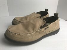 Crocs Men Walu 11270 Relaxed Slip On Canvas Moccasin Casual Brown, Sz 11