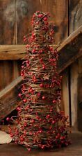 """New Primitive Christmas Red Burgundy RUSTY STAR BERRY CONE TREE Grapevine 18"""""""