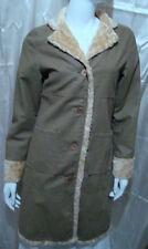 women lady beige faux leather faux fur long coat Sz  s small