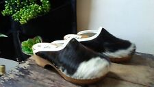 Vintage Girls 2 - 2.5 Austrian Pony Hair Jowa Toffler Wooden Heel Sole Clogs 32