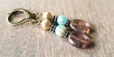 Southwest style earrings, Stacked Bead, Turquoise Shell, Brown, boho USA seller