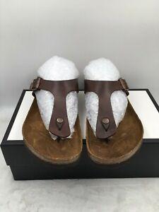 Birkenstock Gizeh Men's Sandals Brown Leather Thong Slip On Size 46 EU/13 US