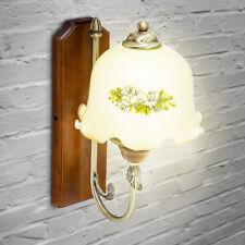 Wandleuchte Lampe Shabby Chic Landhaus Messing-Optik Pastelltöne florales Design