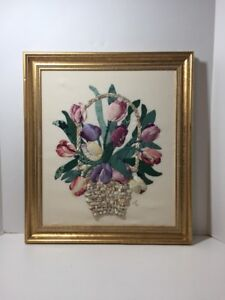 """Tulip Flower Basket Finished Framed Dimensional Applique Fabric Picture 17"""" x 19"""
