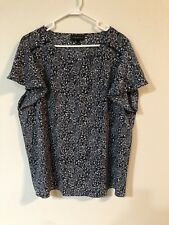 Lane Bryant Plus Size 22 Blouse Shirt Top Shell Black White Floral Short Sleeve