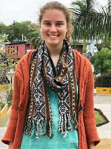 Handmade Green Alpaca Yarn Scarf, Handwoven Traditional Scarf, Unique Gift Ideas