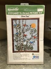 "Wonder Art Stamped Birch Trees Embroidery Kit 11""x14"" Sealed Vintage Cardinals"