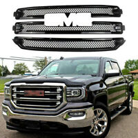 Front Grill Covers For 2016 2017 2018 GMC Sierra 1500 SLT Overlay Gloss Black