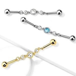 14G 38mm Lizard Industrial Barbell Ear Ring Bar Body Piercing Jewellery