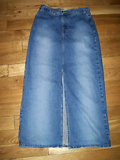womens GAP Jeans LONG MODEST JEAN DENIM SKIRT Front Split SIZE 4
