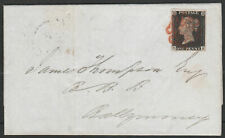 1840 SG2 1d BLACK PLATE 2 ON VERY FINE IRISH COVER DERRY TO BALLYMONEY (ME)