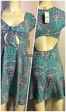 DREAM STATE OOPSY DAISY DRESS TEAL & NEON PINK  PRINT  ** SOLD OUT ** XS