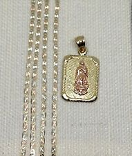 Clearance 14k Yellow Rose Gold Virgin Mary Double Charm Pendant Valentino Chain