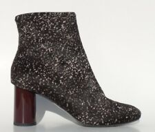 PROENZA SCHOULER Black Beige Marled Pony Fur Cylindrical Heel Ankle Boots 37.5