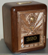 Walnut Post Office Box Door Bank -Bronze Eagle w/Brass slot