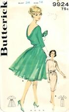 Butterick Sewing Pattern 9924 Misses 1960s Cowl Low Back Cocktail Dress