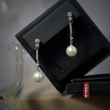 Boucles d`Oreilles Nacre Perle Culture Rond Blanc Argent Massif 925 9mm-10mm B