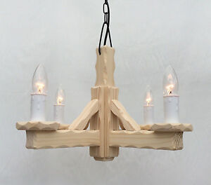 TW/4-NP - Traditional Rustic 4-Light Wooden Natural Pine Pendant /Ceiling Light