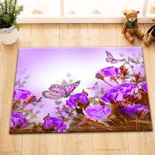 Area Rug  Delicate Purple Rose Butterfly Floor Carpet Non-skid Bath Kitchen Mat