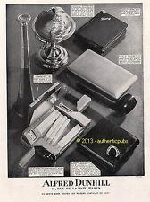 PUBLICITE ALFRED DUNHILL ETUI A CIGARETTES BRIQUET TROMPETTE DE 1932 FRENCH AD