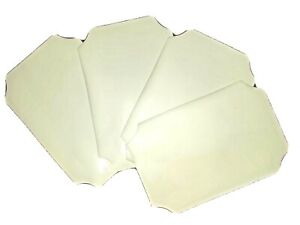 Set of 4 YELLOW Rectangular PLACEMATS Glossy VINYL Foam Back Concave Corners NOS