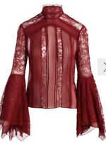 Alice + Olivia Ivy High Neck Handkershief Sleeve Top Red Size 8 NWT