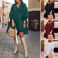 Womens Oversized Puff Sleeve V Neck Knee Length Casual A-Line Solid Shirt Dress