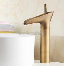 Bathroom Waterfall Vessel Sink Faucet Antique Brass One Handle Mixer Tap