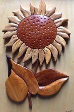 Framed Sunflower Intarsia Wood - John Falkowski 2010 Art Plaque - Woodcut flower