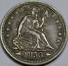 "1853 ""Arrows and Rays"" Seated Liberty Quarter Dollar Choice AU+ Nice & Original!"