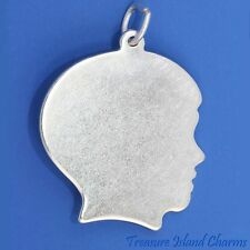 LARGE BOY SILHOUETTE ENGRAVABLE .925 Solid Sterling Silver Charm Pendant
