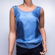 DKNY Azure Blue Tussah Silk Casual Tank $128 Petite