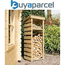 More details for rowlinson narrow wooden log wood store kindling shelf garden storage
