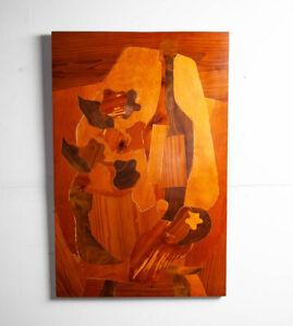 Mid Century Modern Wood Sculpture Collage Artisan Vintage Signed Zuick 1964 Art