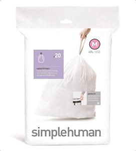 simplehuman Code M Custom Fit Drawstring Trash Bags, 45 L /12 GL White 20CT