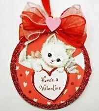 Hand Made Kitten With Valentine Glittered wood slice Valentine'S Day Ornament