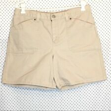 Faded Glory 14 Jean Shorts Tan Solid Pockets Zipper Button Closure Cotton Casual