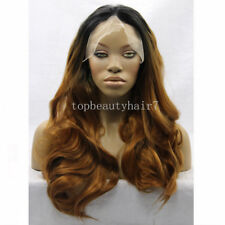 1B/coppery Ombre Color Lace Front Wig Synthetic Hair Long Wavy Wigs