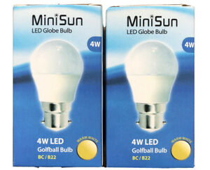 2 PACK OF MINISUN 4W LED GOLF BALL BULBS WARM WHITE 2700K BC B22 FITTING A+